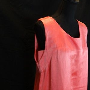 Vintage Thick Silk Coral colored Shift Dress-Small